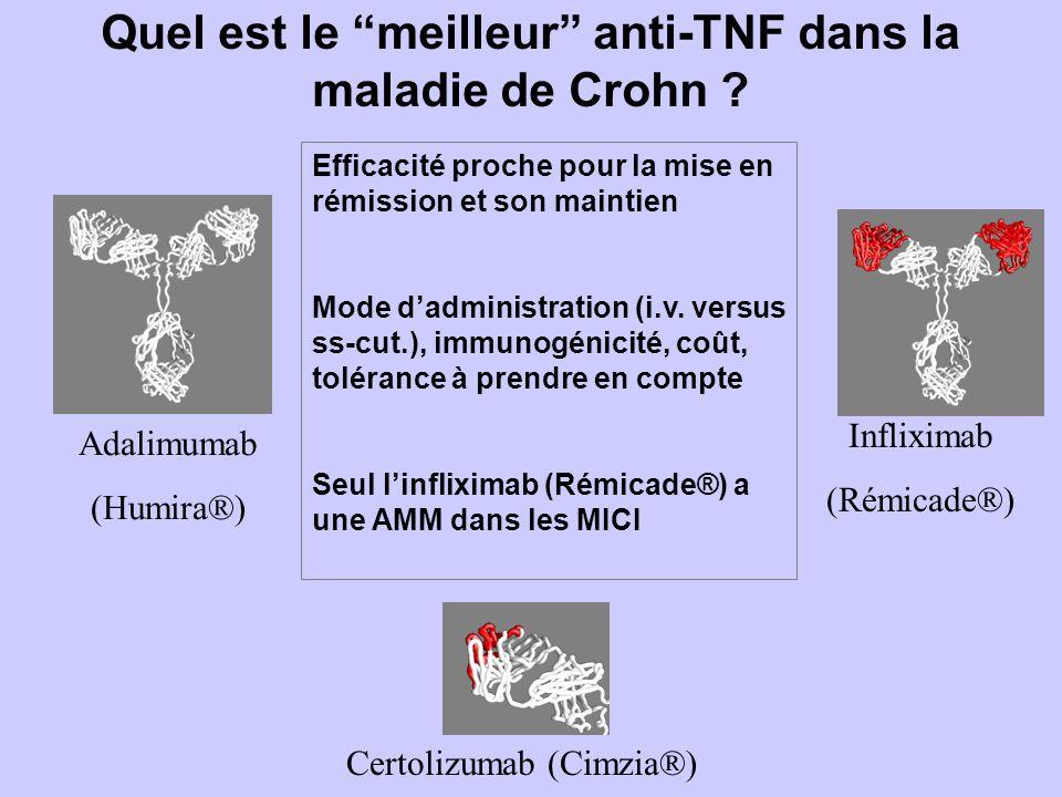 Infliximab (Rémicade®) Adalimumab (Humira®) Certolizumab (Cimzia®) Quel est le meilleur anti-TNF dans la maladie de Crohn .