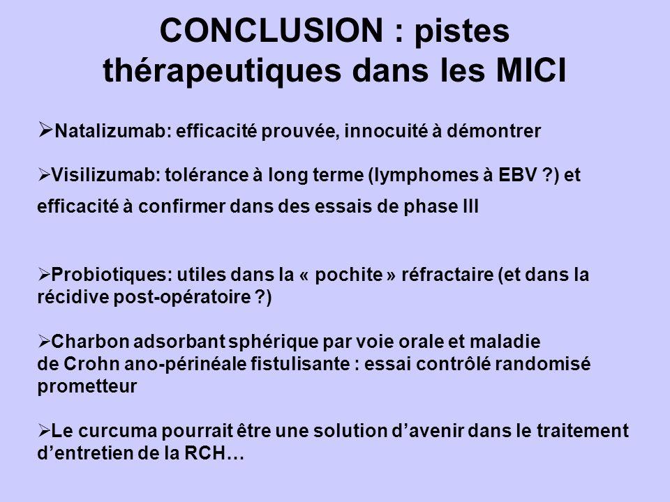 Natalizumab: efficacité prouvée, innocuité à démontrer Visilizumab: tolérance à long terme (lymphomes à EBV ?) et efficacité à confirmer dans des essais de phase III Probiotiques: utiles dans la « pochite » réfractaire (et dans la récidive post-opératoire ?) Charbon adsorbant sphérique par voie orale et maladie de Crohn ano-périnéale fistulisante : essai contrôlé randomisé prometteur Le curcuma pourrait être une solution davenir dans le traitement dentretien de la RCH… CONCLUSION : pistes thérapeutiques dans les MICI