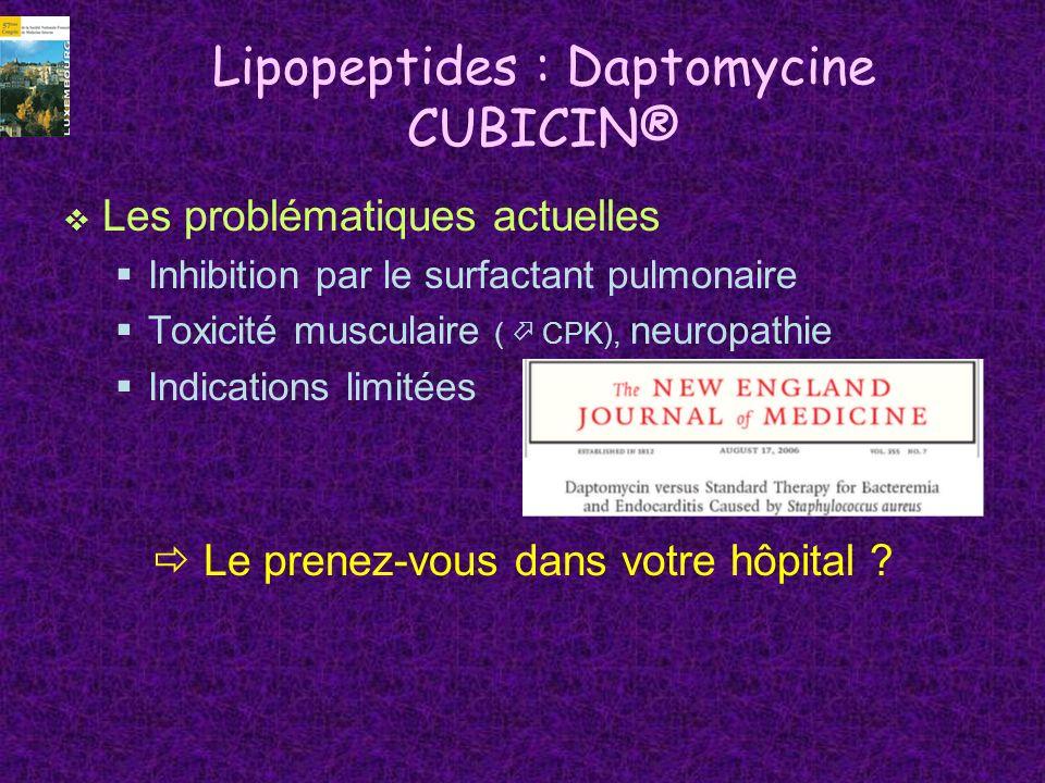 Lipopeptides : Daptomycine CUBICIN® Les problématiques actuelles Inhibition par le surfactant pulmonaire Toxicité musculaire ( CPK), neuropathie Indic