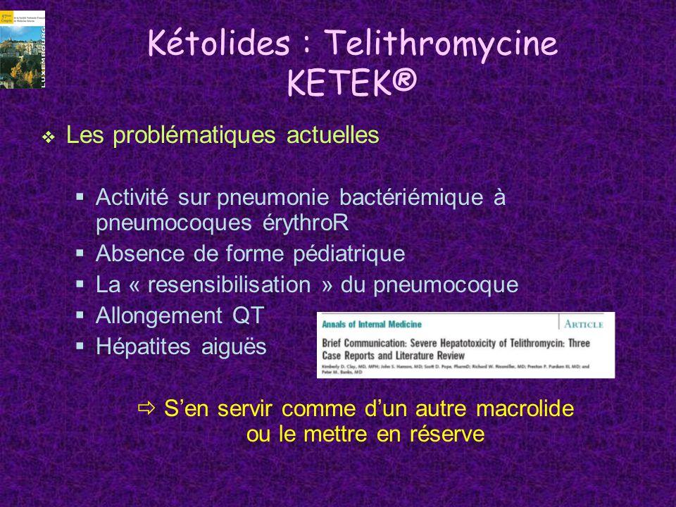 Kétolides : Telithromycine KETEK® Les problématiques actuelles Activité sur pneumonie bactériémique à pneumocoques érythroR Absence de forme pédiatriq