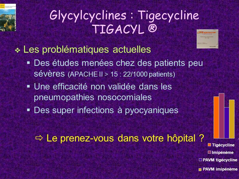 Glycylcyclines : Tigecycline TIGACYL ® Les problématiques actuelles Des études menées chez des patients peu sévères (APACHE II > 15 : 22/1000 patients