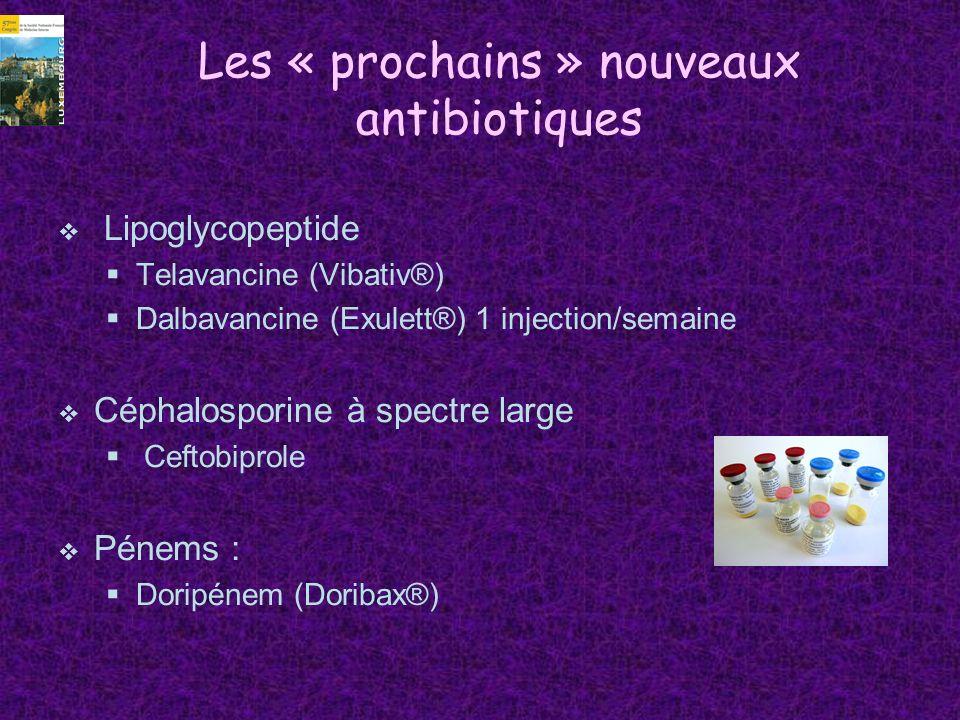 Les « prochains » nouveaux antibiotiques Lipoglycopeptide Telavancine (Vibativ®) Dalbavancine (Exulett®) 1 injection/semaine Céphalosporine à spectre