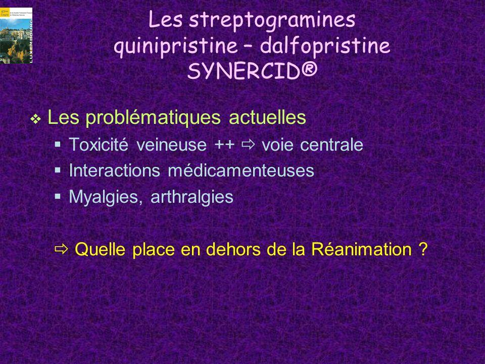 Oxazolidinones : Linezolide ZYVOXID® Nouvelle classe dantibiotiques Inhibition de la synthèse protéique par action ribosomale Activité principalement antigram Bactéricide sur streptocoques (ERV) et pneumocoques (PSPD) Bactériostatique sur staphylocoques (SAMR) Administrable à la fois Par voie IV Par voie orale, biodisponibilité 100% Posologie : 600 mg x 2/j Indications (réserve hospitalière) Pneumonies nosocomiales Infections compliquées peau et tissus mous
