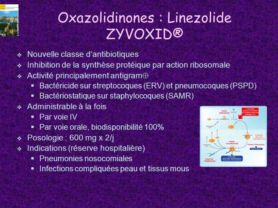 Oxazolidinones : Linezolide ZYVOXID® Nouvelle classe dantibiotiques Inhibition de la synthèse protéique par action ribosomale Activité principalement