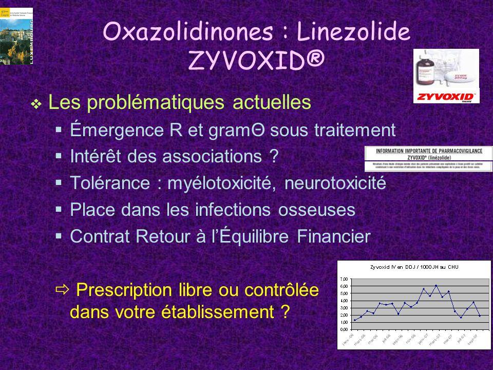 Oxazolidinones : Linezolide ZYVOXID® Les problématiques actuelles Émergence R et gramΘ sous traitement Intérêt des associations ? Tolérance : myélotox