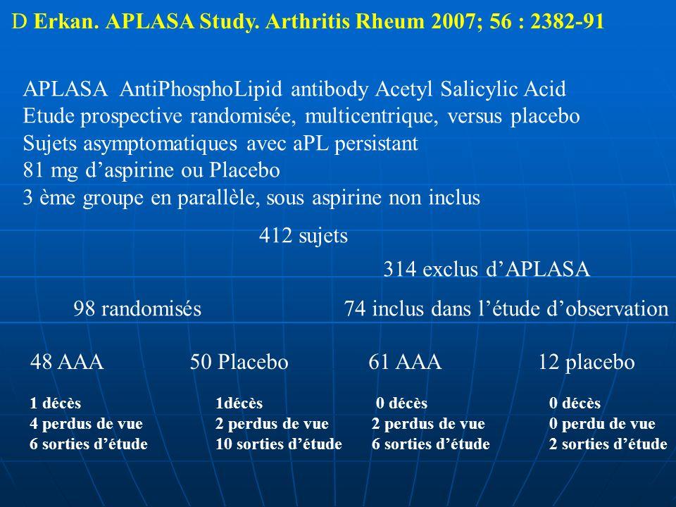 D Erkan. APLASA Study. Arthritis Rheum 2007; 56 : 2382-91 APLASA AntiPhosphoLipid antibody Acetyl Salicylic Acid Etude prospective randomisée, multice