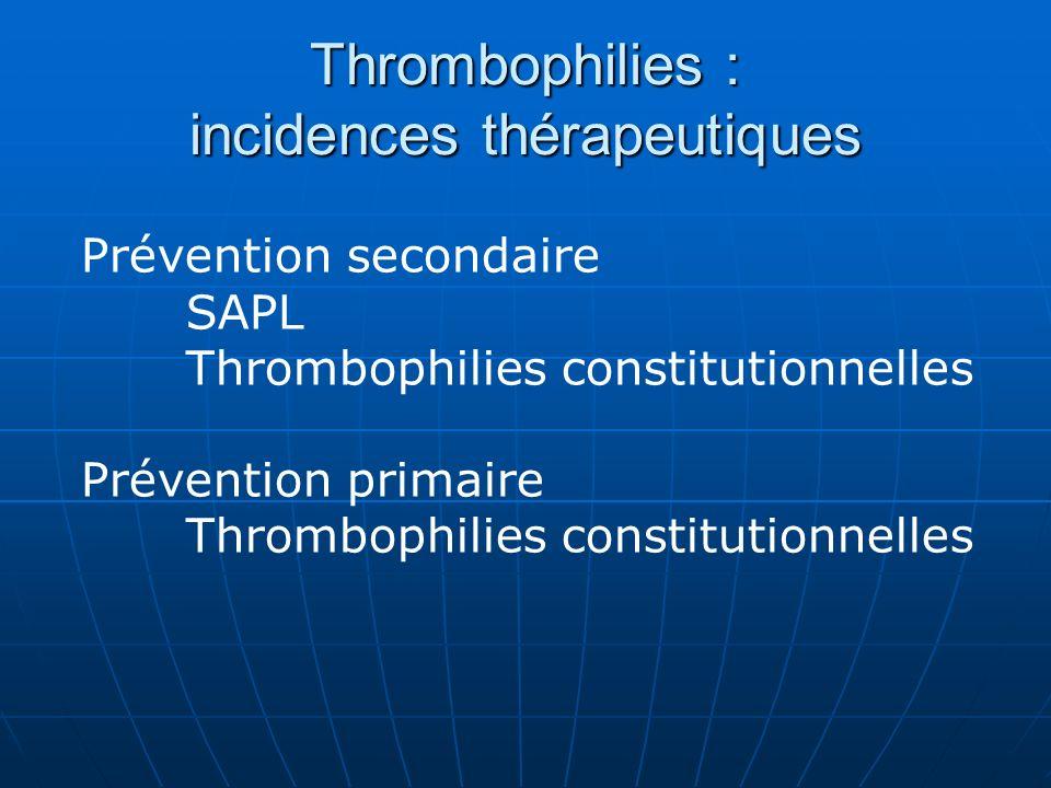 Recommandations SAPL « faible risque » (1 épisode veineux) traitement AVK INR 2-31B Durée « prolongée » SAPL artériel ou MTE récidivante traitement AVK INR > 31C (études de cohortes, peu de patients artériels) APL une seule fois et AVC ou MTE, cf recommandations autres AVK INR 2-3, ou aspirine1C Pas de données pour justifier lajout daspirine en cas de récidive Pas de données sur limpact de la correction des fdr vasculaires