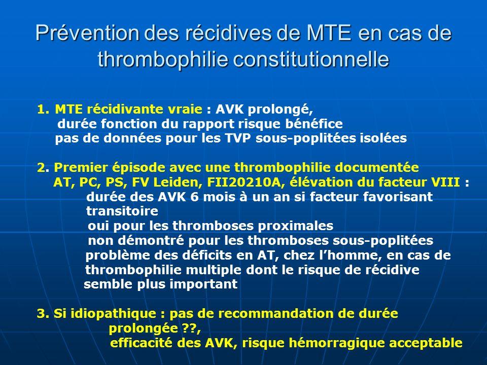 Prévention des récidives de MTE en cas de thrombophilie constitutionnelle 1.MTE récidivante vraie : AVK prolongé, durée fonction du rapport risque bén