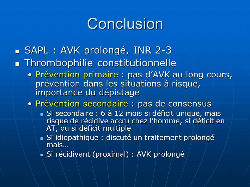 Conclusion SAPL : AVK prolongé, INR 2-3 SAPL : AVK prolongé, INR 2-3 Thrombophilie constitutionnelle Thrombophilie constitutionnelle Prévention primai