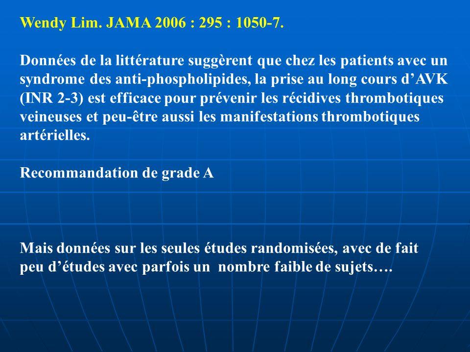 Wendy Lim. JAMA 2006 : 295 : 1050-7. Données de la littérature suggèrent que chez les patients avec un syndrome des anti-phospholipides, la prise au l