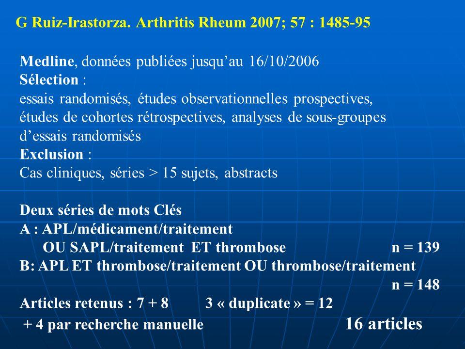 G Ruiz-Irastorza. Arthritis Rheum 2007; 57 : 1485-95 Medline, données publiées jusquau 16/10/2006 Sélection : essais randomisés, études observationnel