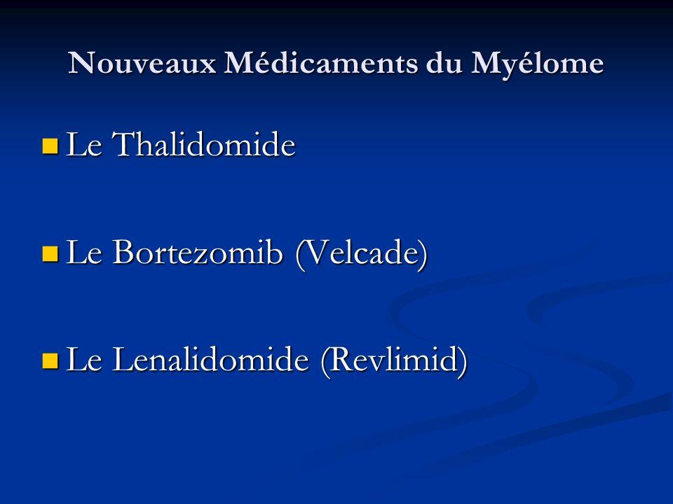 Nouveaux Médicaments du Myélome Le Thalidomide Le Thalidomide Le Bortezomib (Velcade) Le Bortezomib (Velcade) Le Lenalidomide (Revlimid) Le Lenalidomi