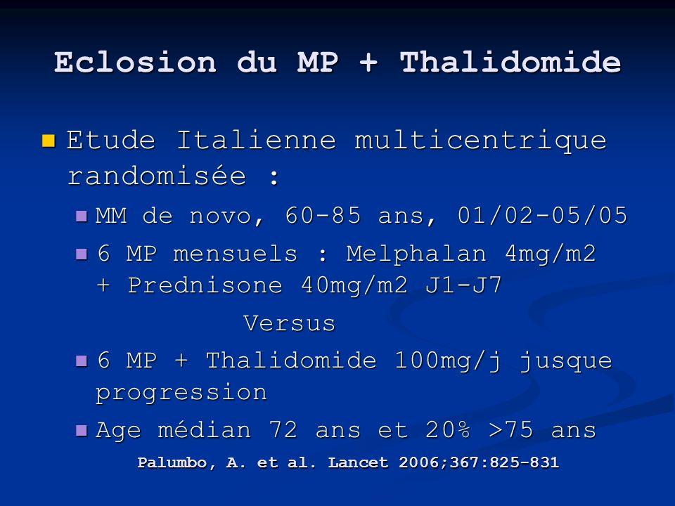 Eclosion du MP + Thalidomide Etude Italienne multicentrique randomisée : Etude Italienne multicentrique randomisée : MM de novo, 60-85 ans, 01/02-05/0