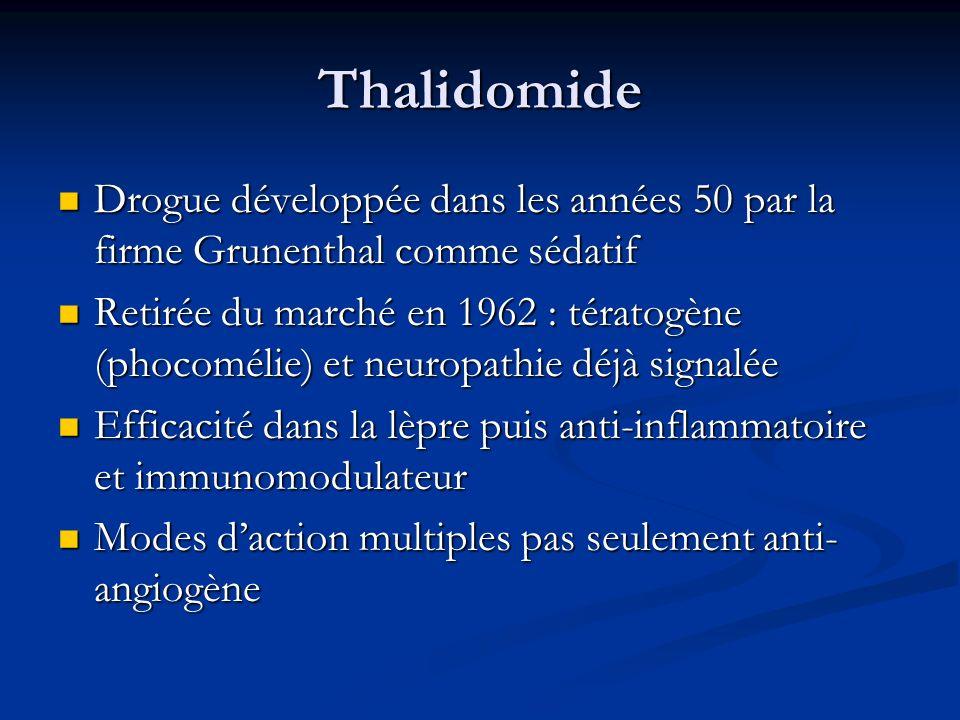 Thalidomide Drogue développée dans les années 50 par la firme Grunenthal comme sédatif Drogue développée dans les années 50 par la firme Grunenthal co