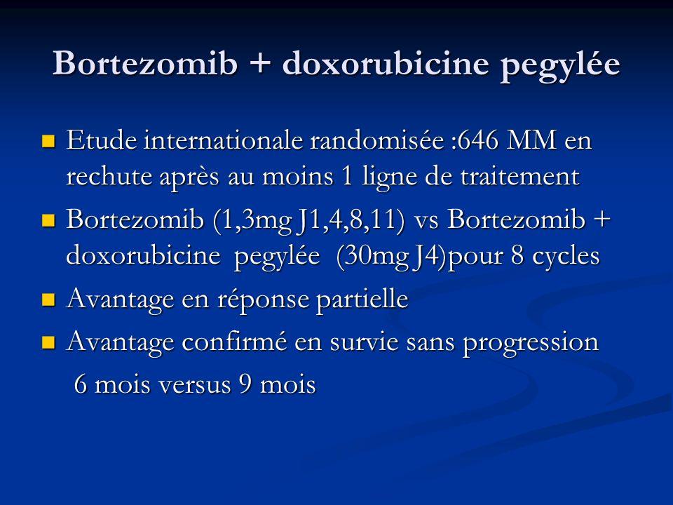 Bortezomib + doxorubicine pegylée Etude internationale randomisée :646 MM en rechute après au moins 1 ligne de traitement Etude internationale randomi