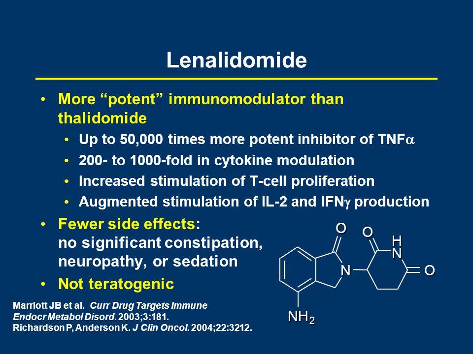 Marriott JB et al. Curr Drug Targets Immune Endocr Metabol Disord. 2003;3:181. Richardson P, Anderson K. J Clin Oncol. 2004;22:3212. More potent immun
