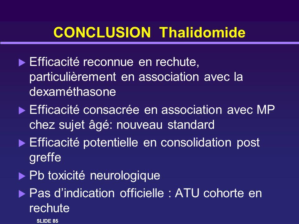 CONCLUSION Thalidomide Efficacité reconnue en rechute, particulièrement en association avec la dexaméthasone Efficacité consacrée en association avec