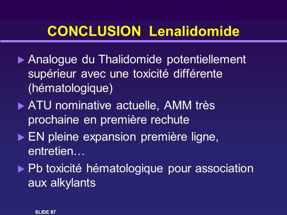 CONCLUSION Lenalidomide Analogue du Thalidomide potentiellement supérieur avec une toxicité différente (hématologique) ATU nominative actuelle, AMM tr