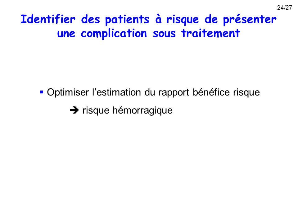 Identifier des patients à risque de présenter une complication sous traitement Optimiser lestimation du rapport bénéfice risque risque hémorragique 24