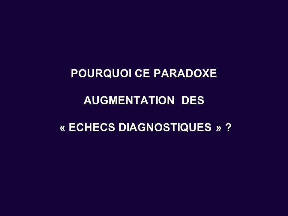 POURQUOI CE PARADOXE AUGMENTATION DES « ECHECS DIAGNOSTIQUES » ?
