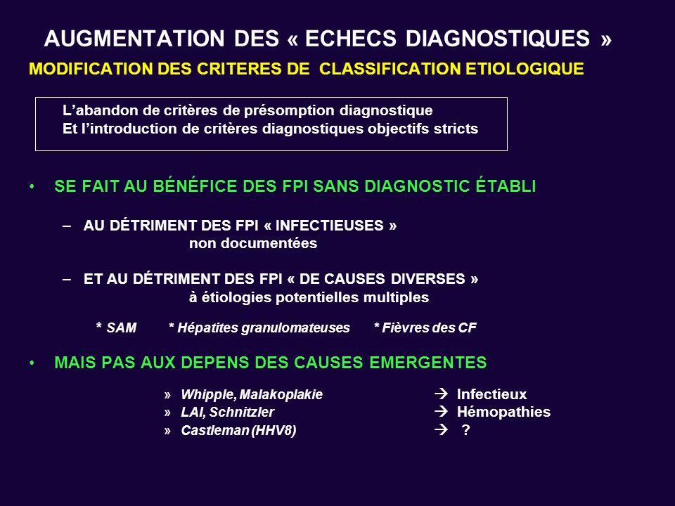 AUGMENTATION DES « ECHECS DIAGNOSTIQUES » MODIFICATION DES CRITERES DE CLASSIFICATION ETIOLOGIQUE Labandon de critères de présomption diagnostique Et