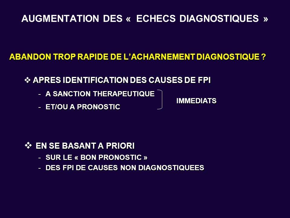 AUGMENTATION DES « ECHECS DIAGNOSTIQUES » ABANDON TROP RAPIDE DE LACHARNEMENT DIAGNOSTIQUE ? APRES IDENTIFICATION DES CAUSES DE FPI APRES IDENTIFICATI