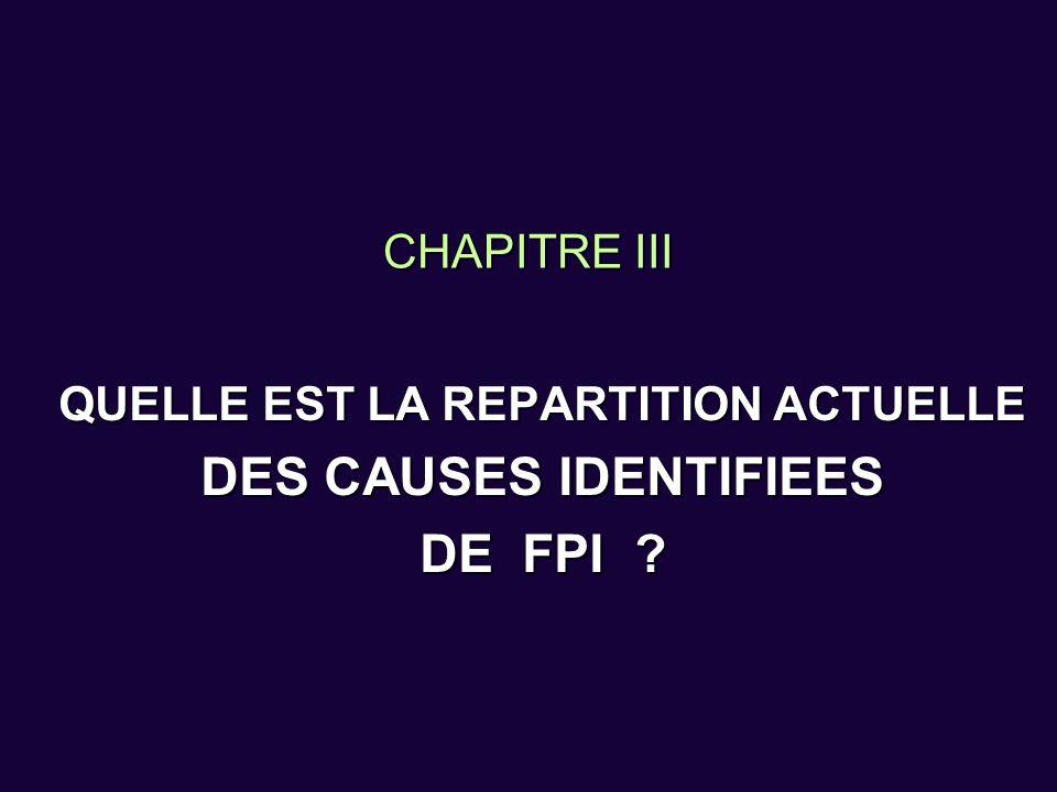 CHAPITRE III QUELLE EST LA REPARTITION ACTUELLE DES CAUSES IDENTIFIEES DE FPI ?