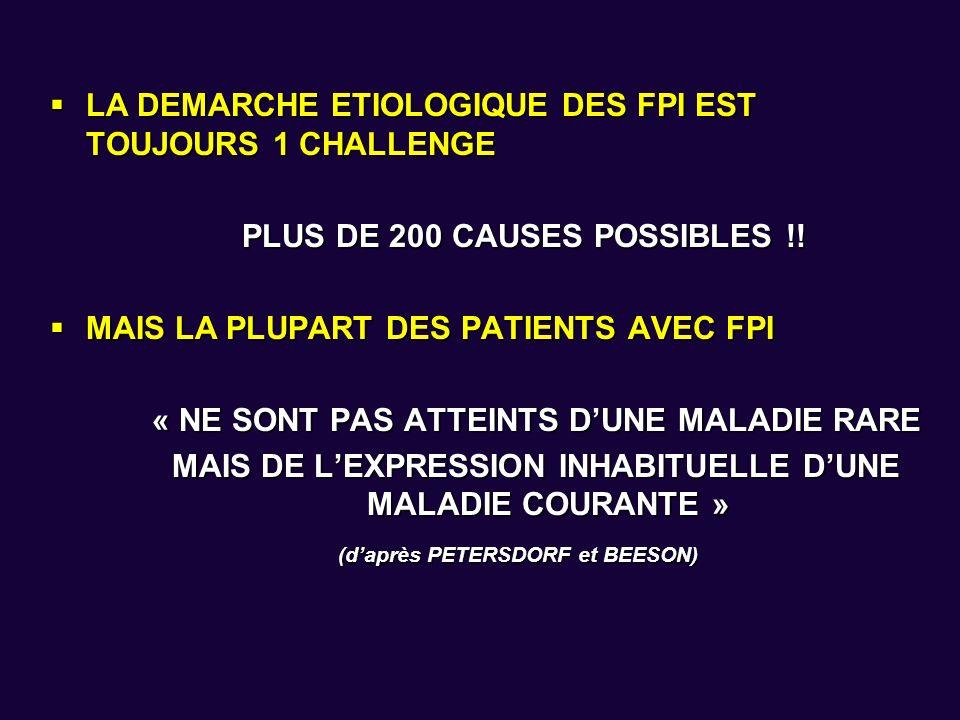 LA DEMARCHE ETIOLOGIQUE DES FPI EST TOUJOURS 1 CHALLENGE LA DEMARCHE ETIOLOGIQUE DES FPI EST TOUJOURS 1 CHALLENGE PLUS DE 200 CAUSES POSSIBLES !! MAIS
