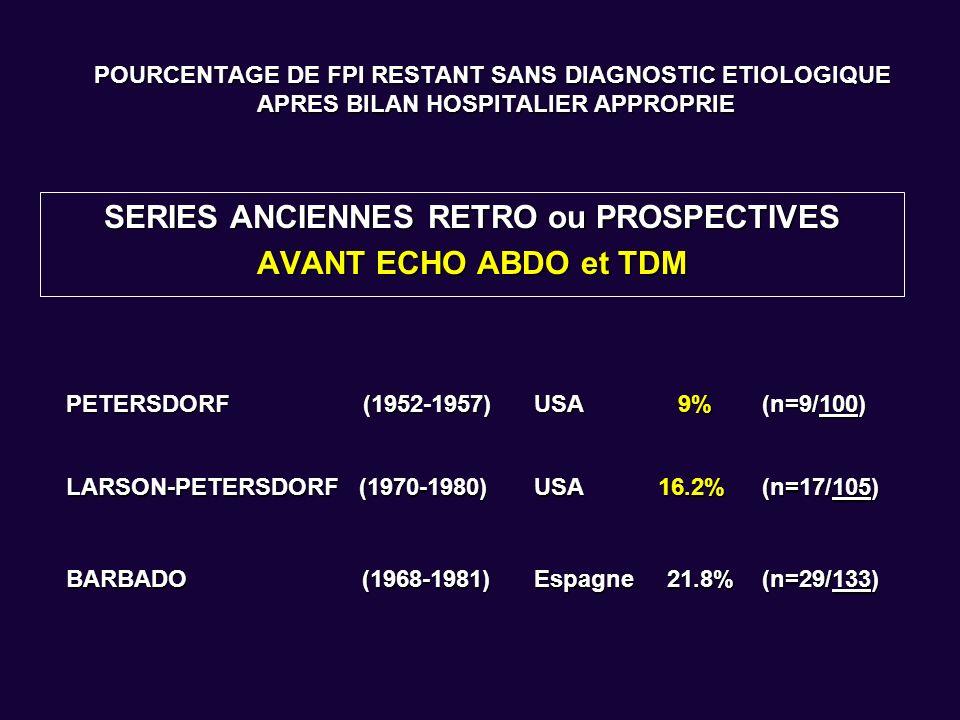 POURCENTAGE DE FPI RESTANT SANS DIAGNOSTIC ETIOLOGIQUE APRES BILAN HOSPITALIER APPROPRIE SERIES PLUS RECENTES RETRO ou PROSPECTIVES APRES ECHO ABDO et TDM MARCELLIN - NINET 1978-1985France15% (n= 15/100) KNOCKAERT1980-1989Belgique25.6% (n= 51/199) LORTHOLARY1981-1988France16.5% (n= 17/103) LIKUNI1982-1992Japon11.8% (n= 18/153) DE KLEIJN 1992-1994 Pays Bas 31.1% (n= 52/167) VANDERSCHUERENKNOCKAERT1990-1999Belgique53.0% 43.9% * (n= 98/185) (n= 98/223) HOT-NINET ** 1995-2002France18.5% (n= 24/130) ZENONE1999-2005France 25.7% * (n= 37/144) * Critères de Durack et Street ** BOM systématique