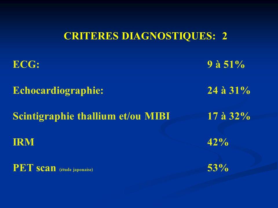 ECG: 9 à 51% Echocardiographie: 24 à 31% Scintigraphie thallium et/ou MIBI 17 à 32% IRM 42% PET scan (étude japonaise) 53% CRITERES DIAGNOSTIQUES: 2