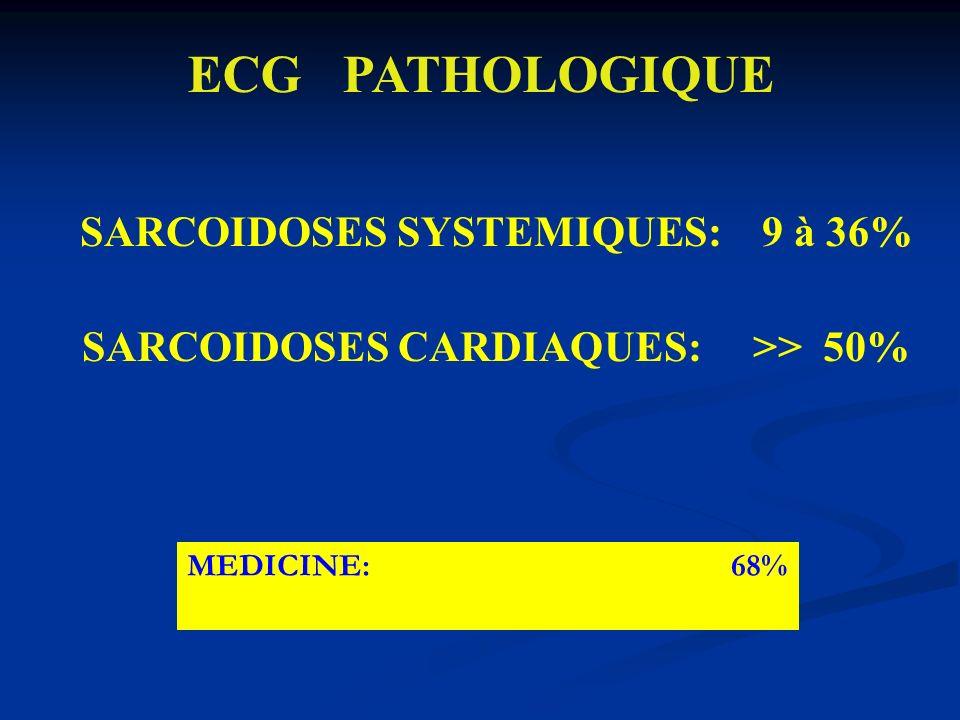 SARCOIDOSES SYSTEMIQUES: 9 à 36% SARCOIDOSES CARDIAQUES: >> 50% ECG PATHOLOGIQUE MEDICINE: 68%