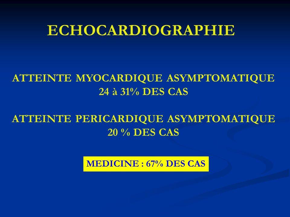 ECHOCARDIOGRAPHIE ATTEINTE MYOCARDIQUE ASYMPTOMATIQUE 24 à 31% DES CAS ATTEINTE PERICARDIQUE ASYMPTOMATIQUE 20 % DES CAS MEDICINE : 67% DES CAS
