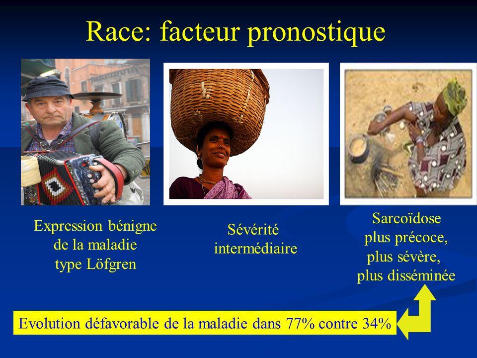 Race: facteur pronostique Sarcoïdose plus précoce, plus sévère, plus disséminée Expression bénigne de la maladie type Löfgren Evolution défavorable de