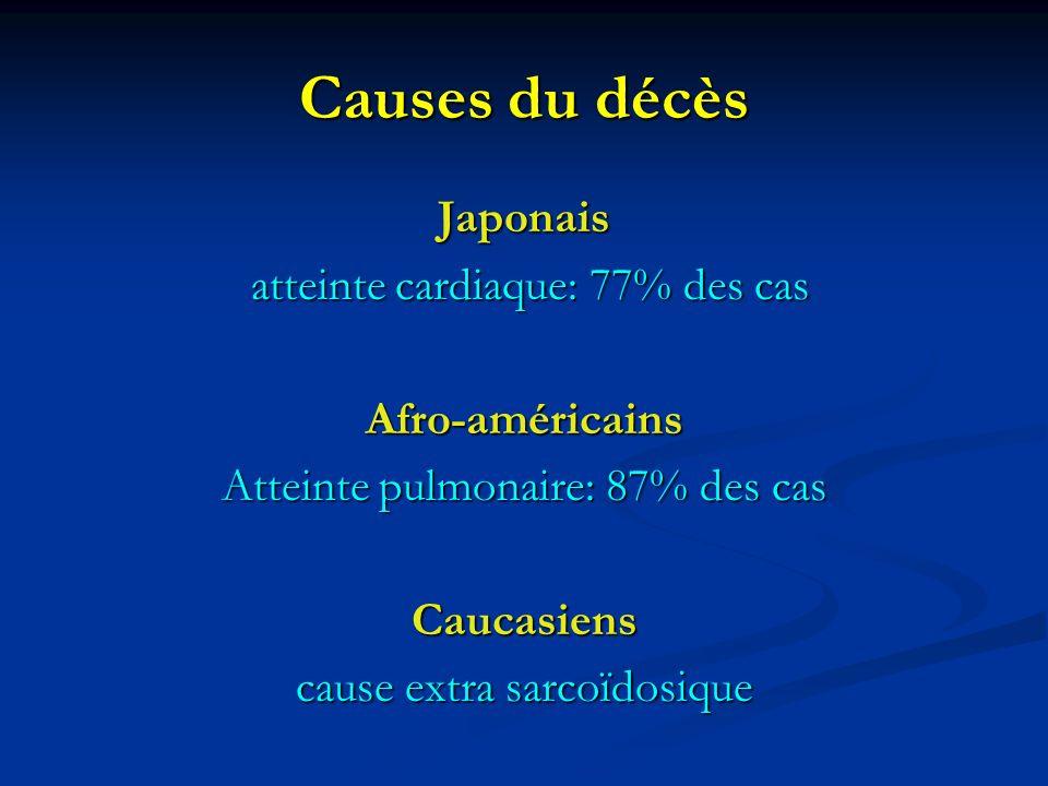 Causes du décès Japonais atteinte cardiaque: 77% des cas atteinte cardiaque: 77% des casAfro-américains Atteinte pulmonaire: 87% des cas Caucasiens ca