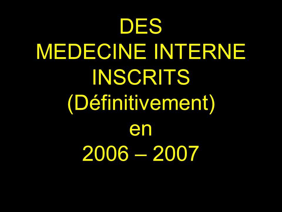 DES MEDECINE INTERNE INSCRITS (Définitivement) en 2006 – 2007