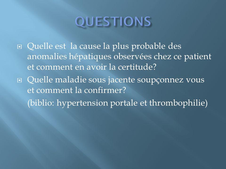 Quelle est la cause la plus probable des anomalies hépatiques observées chez ce patient et comment en avoir la certitude? Quelle maladie sous jacente