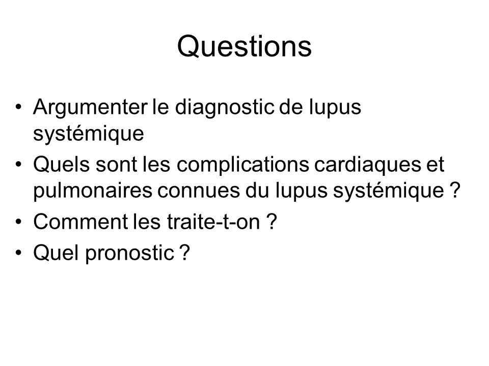 Questions Argumenter le diagnostic de lupus systémique Quels sont les complications cardiaques et pulmonaires connues du lupus systémique .