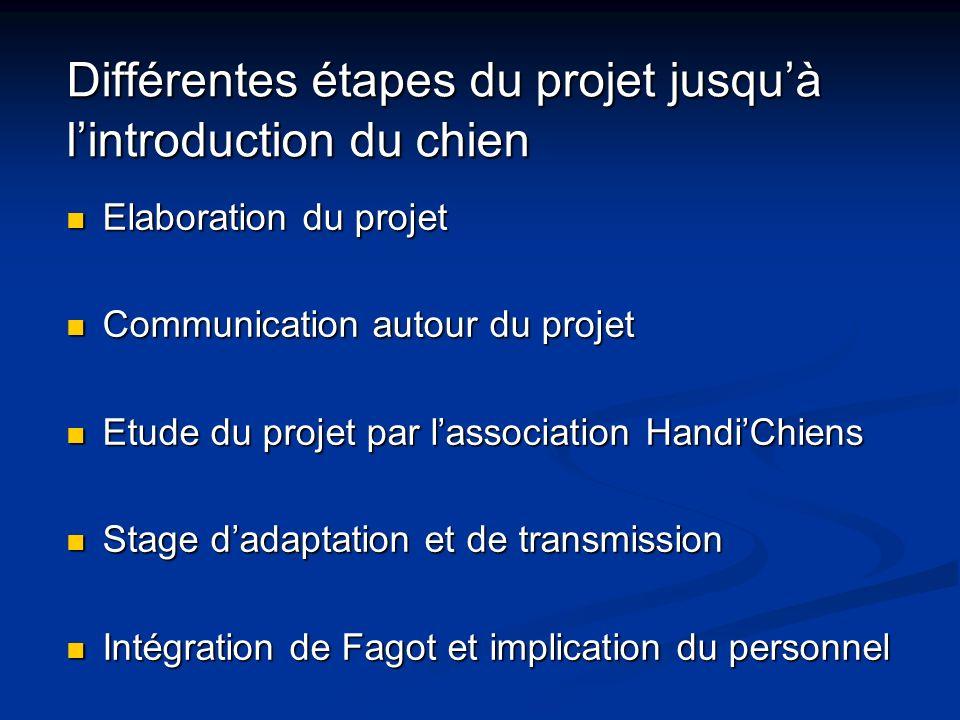 Différentes étapes du projet jusquà lintroduction du chien Elaboration du projet Elaboration du projet Communication autour du projet Communication au