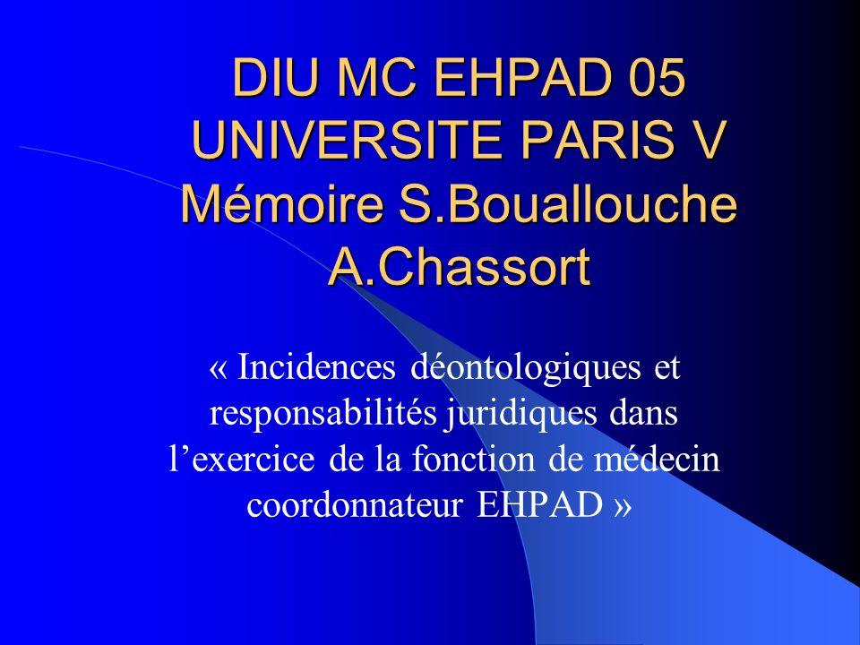 DIU MC EHPAD 05 UNIVERSITE PARIS V Mémoire S.Bouallouche A.Chassort « Incidences déontologiques et responsabilités juridiques dans lexercice de la fonction de médecin coordonnateur EHPAD »
