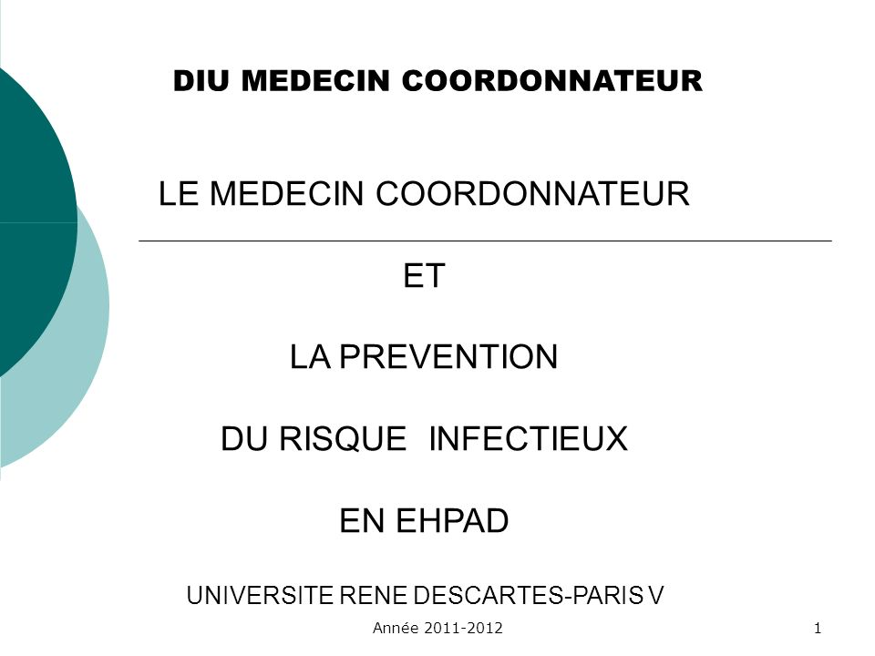 DIU MEDECIN COORDONNATEUR LE MEDECIN COORDONNATEUR ET LA PREVENTION DU RISQUE INFECTIEUX EN EHPAD UNIVERSITE RENE DESCARTES-PARIS V Année 2011-20121
