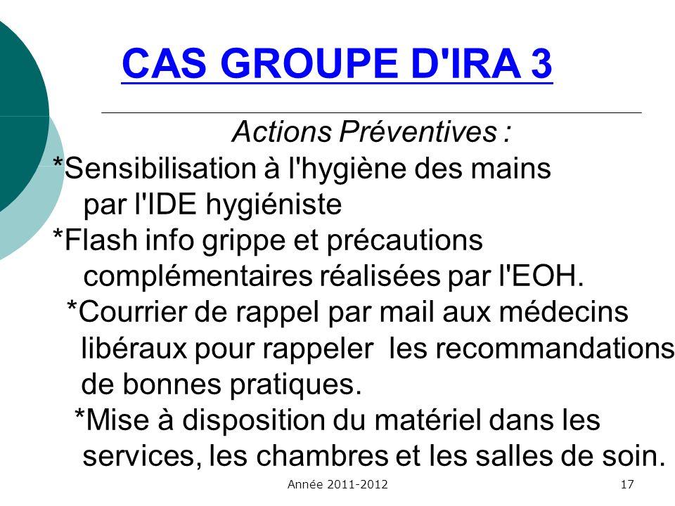 CAS GROUPE D'IRA 3 Actions Préventives : *Sensibilisation à l'hygiène des mains par l'IDE hygiéniste *Flash info grippe et précautions complémentaires