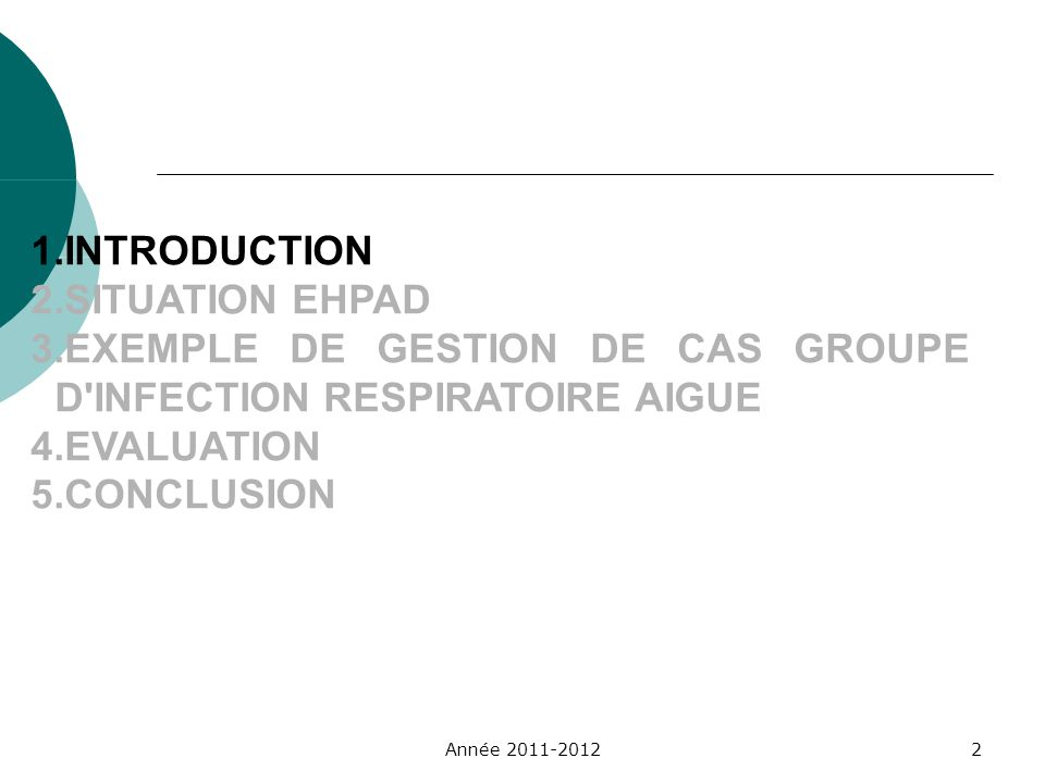 1.INTRODUCTION 2.SITUATION EHPAD 3.EXEMPLE DE GESTION DE CAS GROUPE D'INFECTION RESPIRATOIRE AIGUE 4.EVALUATION 5.CONCLUSION Année 2011-20122