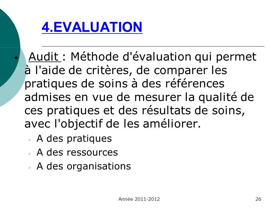 4.EVALUATION Audit : Méthode d'évaluation qui permet à l'aide de critères, de comparer les pratiques de soins à des références admises en vue de mesur