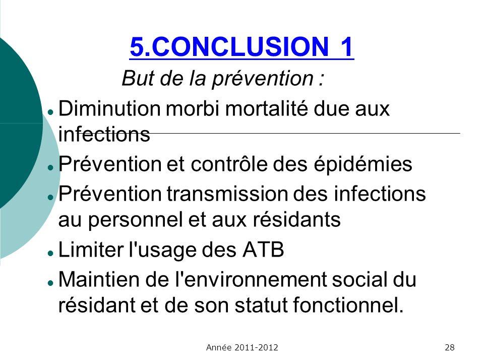 5.CONCLUSION 1 But de la prévention : Diminution morbi mortalité due aux infections Prévention et contrôle des épidémies Prévention transmission des i