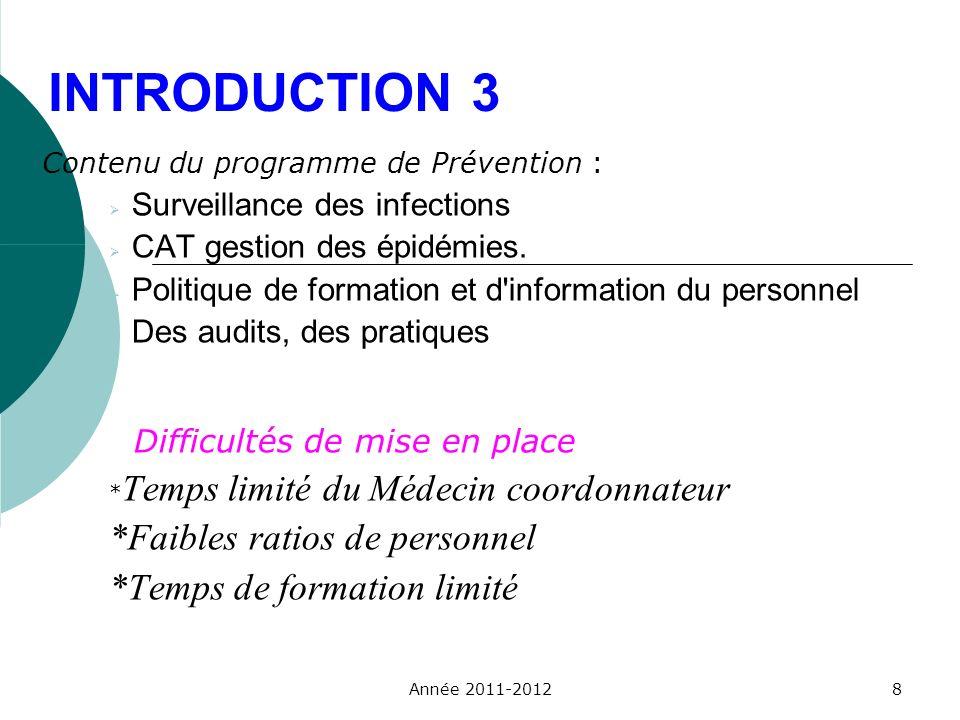 INTRODUCTION 3 Contenu du programme de Prévention : Surveillance des infections CAT gestion des épidémies. Politique de formation et d'information du