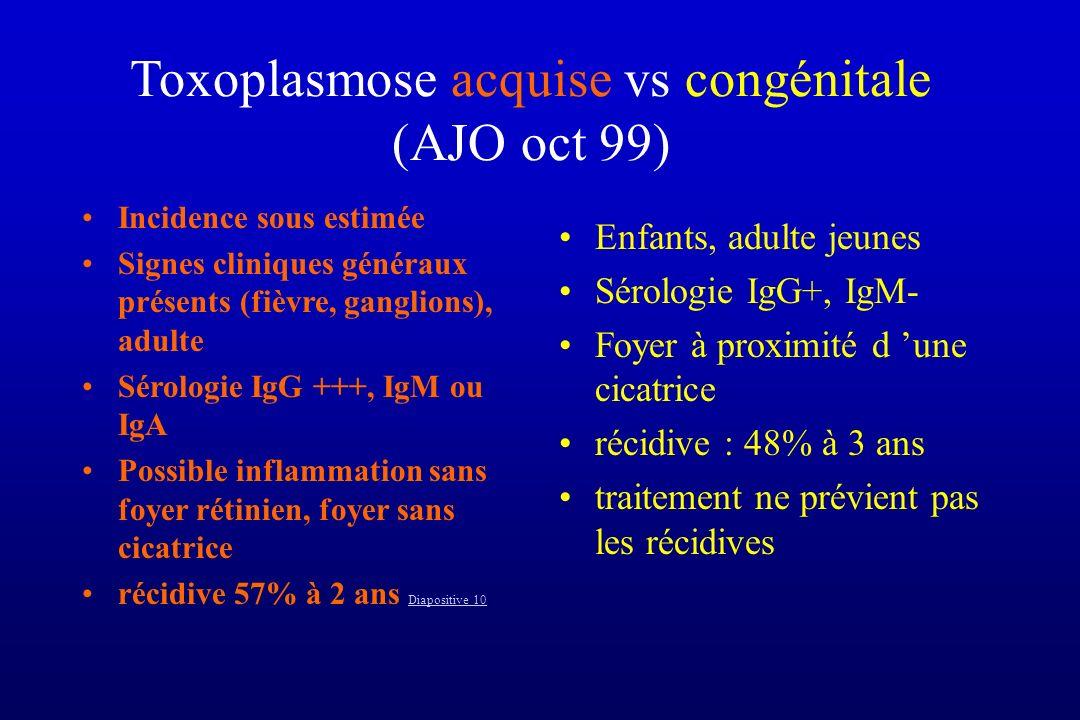 Toxoplasmose acquise vs congénitale (AJO oct 99) Incidence sous estimée Signes cliniques généraux présents (fièvre, ganglions), adulte Sérologie IgG +