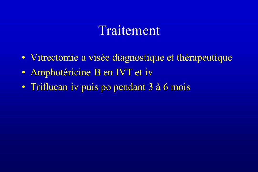 Traitement Vitrectomie a visée diagnostique et thérapeutique Amphotéricine B en IVT et iv Triflucan iv puis po pendant 3 à 6 mois