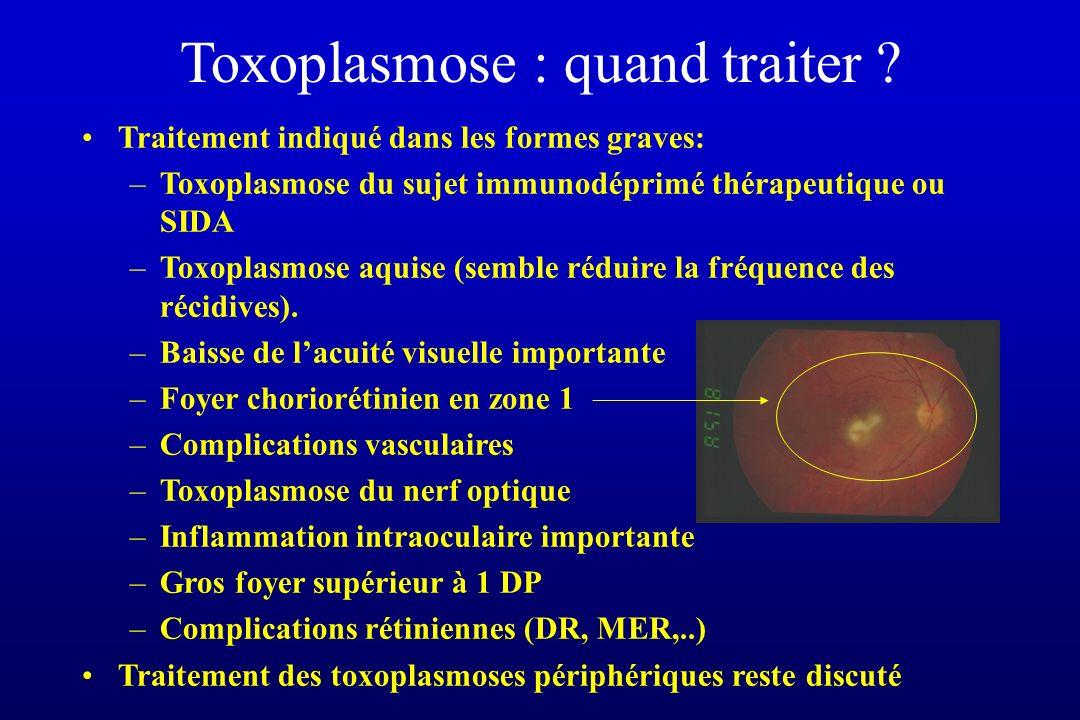 Toxoplasmose : quand traiter ? Traitement indiqué dans les formes graves: –Toxoplasmose du sujet immunodéprimé thérapeutique ou SIDA –Toxoplasmose aqu