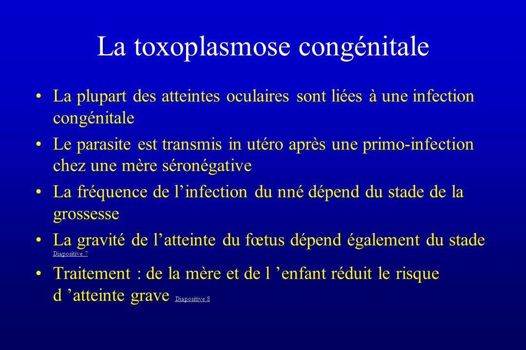 La toxoplasmose congénitale La plupart des atteintes oculaires sont liées à une infection congénitale Le parasite est transmis in utéro après une prim