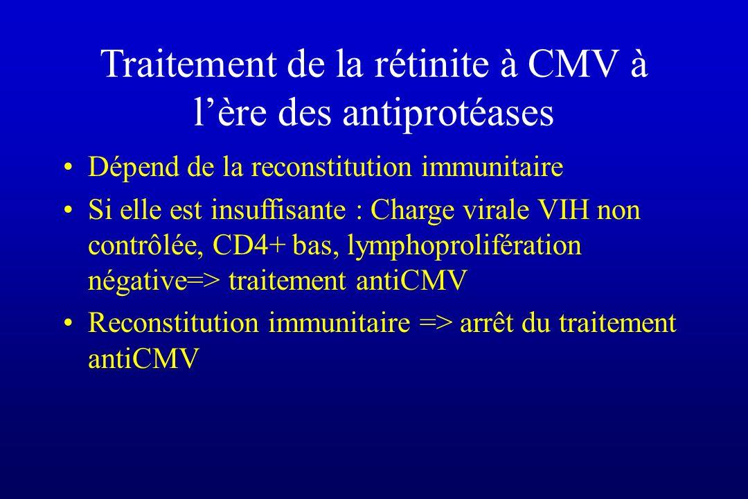 Traitement de la rétinite à CMV à lère des antiprotéases Dépend de la reconstitution immunitaire Si elle est insuffisante : Charge virale VIH non cont